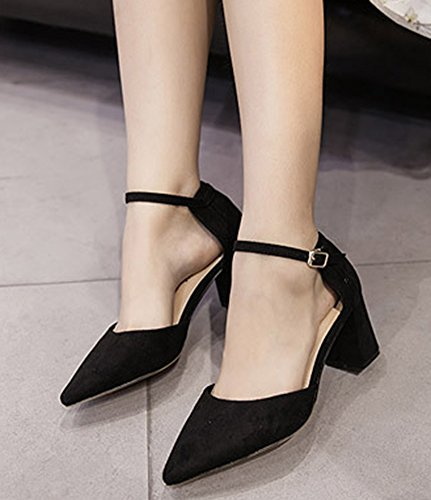 IDIFU Womens Dressy Pointed Toe Buckled D-Orsay Pumps With Medium Chunky Heels Black 2 oRljc3NB