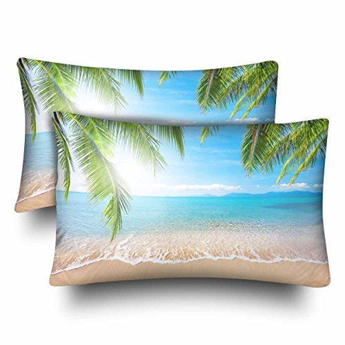 InterestPrint Tropical Palm Coconut Tree Summer Nature Sea Ocean Beach Hawaii Pillow Cases Pillowcase Standard Size 20x30 Set of 2, Rectangle Pillow Covers Protector for Home Couch Bedding Decorative by InterestPrint