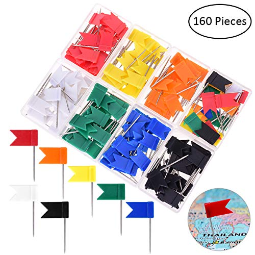 YoungRich 160 Pieces Push Pins Board Decorative Colored Map Pins with Flags Packed in Clear PP Box PlasticHead Steel Point Tacks for Travel Map Cork Board and Bulletin Home Office School