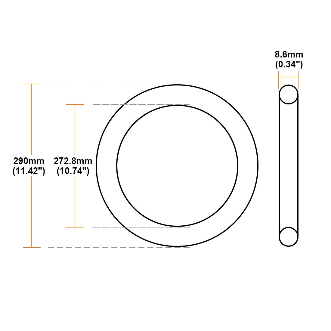 sourcing map O-Rings Nitrile Rubber 202.8mm Inner Diameter 220mm OD 8.6mm Width Round Seal Gasket