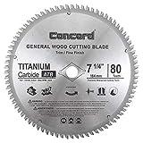 "Concord Blades WCB0725T080HP 7-1/4"" 80 Teeth TCT General Purpose Hard & Soft Wood Saw Blade"