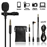 Lavalier Lapel Microphone Kit - UBeesize Professional Clip On Omnidirectional Condenser Lav Mic with 79 Inch Extension Cable for iPhone Android iPad PC GoPro DSLR Camcorder Camera Recorder