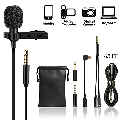 Lavalier Lapel Microphone Kit, UBeesize Professional Clip On Omnidirectional Condenser Lav Mic with 79 Inch Extension Cable for iPhone/Android/ iPad (Lapel Microphone Kit)
