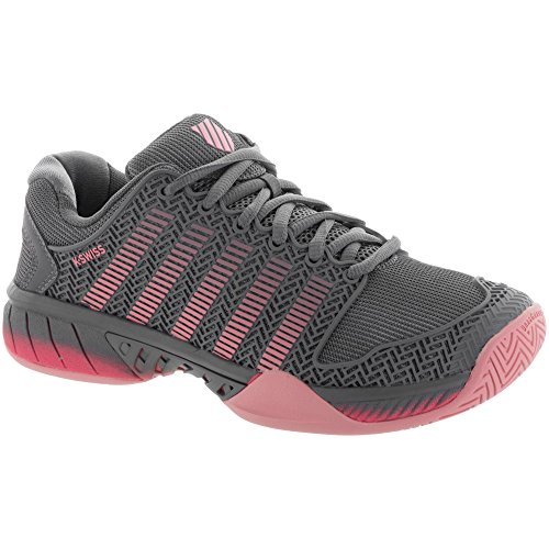 K-Swiss Women's Hypercourt Express Tennis Shoes (Grey/Coral/Pink) (6 B(M) US)