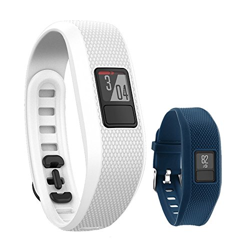 Garmin Vivofit 3 Activity Tracker Fitness Band - Regular Fit (White) with Extreme Speed Silicone Replacement Wrist Band Strap (Blue) by Garmin