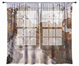 Abstract art sheer drapes, set with two 50''x84'' panels in coffee, brown and gray, Ball and Chain