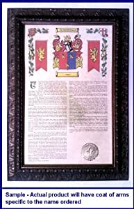 Graber Armorial History with Coat of Arms on 11 x 17 Parchment Paper in Wood Antique Bronze Frame