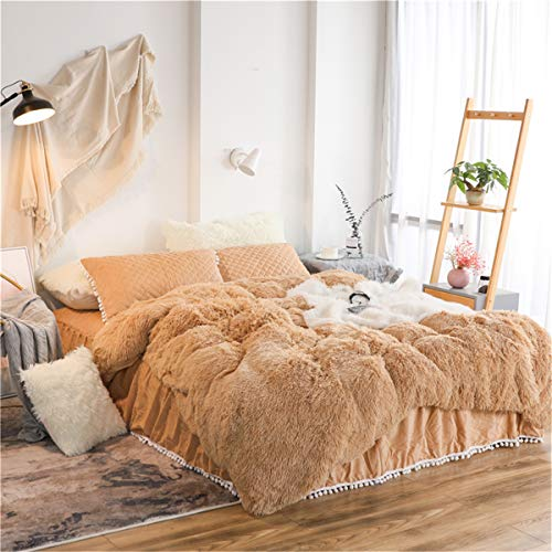 MooWoo 4PCS Shaggy Bedding Sets, 1 Velvet Flannel Duvet Cover + 1 Quilted Ruffle Bed Sheet Skirt + 2 Pompoms Fringe Pillow Sham, Zipper Closure Velvet Bedding Sets (Camel, - Sheet Ruffle