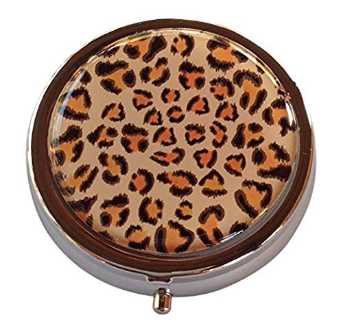 Leopard Print Fashionable Cosmetic Makeup Compact with Standard and Magnifying Mirrors