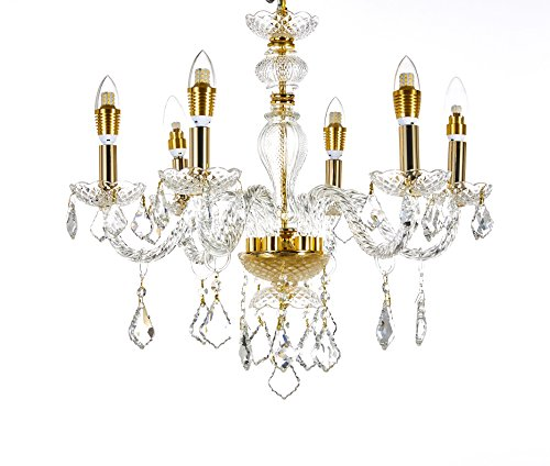 Diamond Life 6-Light Classic Style Gold Finish Crystal Chandelier Pendant Hanging Ceiling Lighting, 22