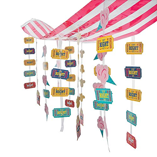 Carnival Circus Party Striped Hanging Ticket Ceiling Decoration - 12 ft -