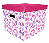 Snap-N-Store Select Storage Box, 14.8 x 11 x 13 Inches, Cat Design, Pink/Purple (SNS01954)