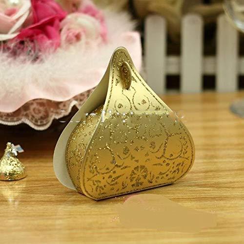 Xiaogongju 100Pcs European Romantic Gold Peach Heart Wedding Candy Boxes Wedding Favours Box Gift Boxes