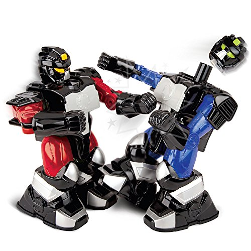 Boxing Fighter Robots Toy - Sharper Image Remote Control Toy Boxing Battle Robots, Deliver Punches & Jabs in Fights, Dual Wireless Controllers W/ Radio Technology, Multi-Direction Movement, Battery Operated, Blue/RED