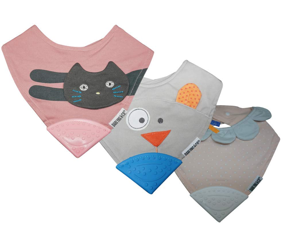 5-Pack Baby /& Toddler Bandana Teething Bib with BPA-Free Silicone Teether and Adjustable Snap for Boys and Girls,