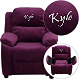 Flash Furniture Personalized Deluxe Padded Microfiber Kids Recliner with Storage Arms, Purple