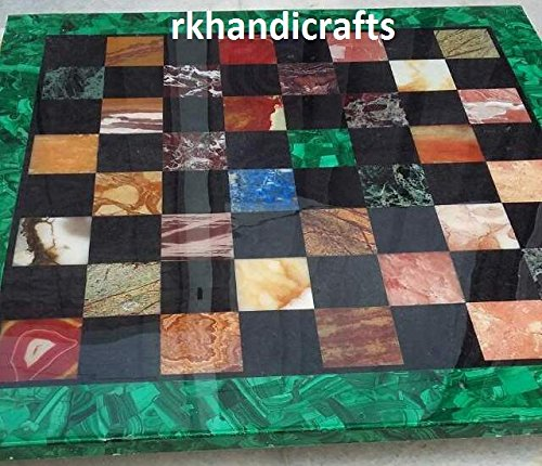 Square Coffee Table top Cum Chess Table Marquetry Art with Multi Stone Elegant Look in Hallway Room Furniture 36 Inches