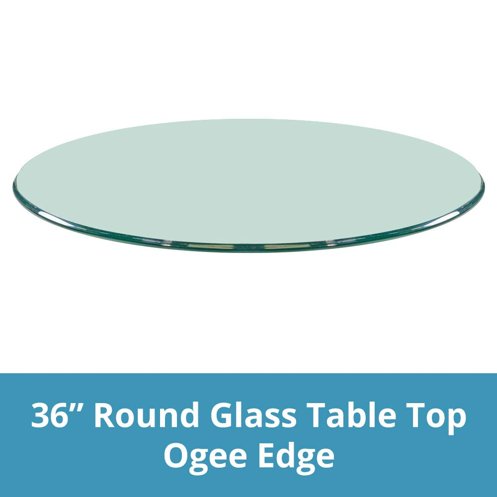 36'' Inch Round Glass Table Top, 3/8'' Thick, Ogee Edge, Tempered Glass