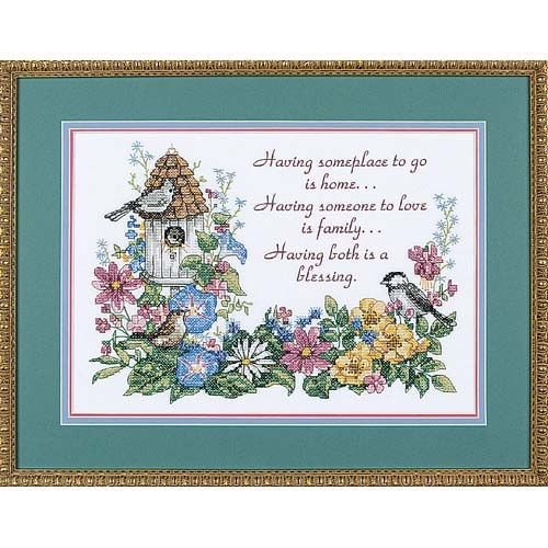 Dimensions Flowery Verse Bird Houses Stamped Cross Stitch Kit, 14'' W x 10'' - Dimensions Stitch Cross Stamped