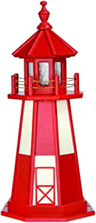 product image for DutchCrafters Decorative Lighthouse - Wood, Cape Henry Style (Cardinal Red/White, 3)
