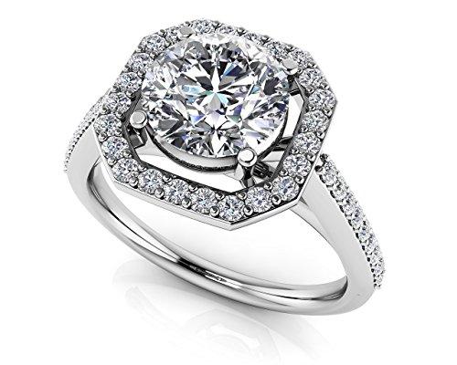 Or blanc 14K Octagon Attaches Lot de diamant Bague de fiançailles