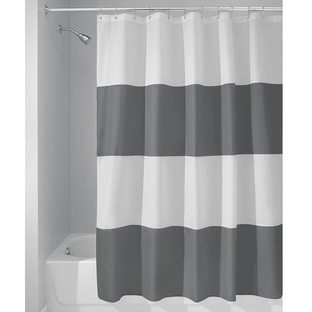 InterDesign Zeno Duschvorhang Textil   wasserdichter Duschvorhang mit Streifen   waschbarer Duschvorhang in der Größe 183,0 cm x 183,0 cm   Polyester dunkelgrau weiß B00OFVYQ46 Duschvorhnge