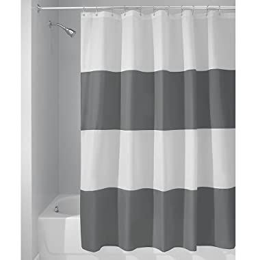 InterDesign Fabric WhiteInterDesign Mildew-Free Water-Repellent Zeno Shower Curtain, 72-Inch, Charcoal/White, Extra Wide