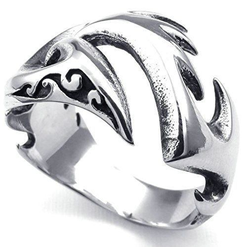 White Crown Phoenix Costume (Bishilin Stainless Steel Phoenix Firebird Gothic Fashion Silver Men's Rings 9,Silver)