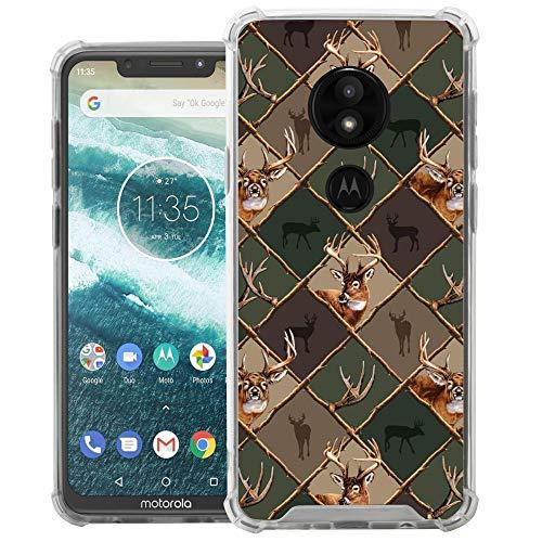 (CasesOnDeck Case Compatible with [Motorola Moto E5 Plus   Moto E5 Supra] Moto E5 Plus Case, Slim Transparent Flexible TPU Cover with Bump and Drop Corner Protection (Deer Emblem Pattern))