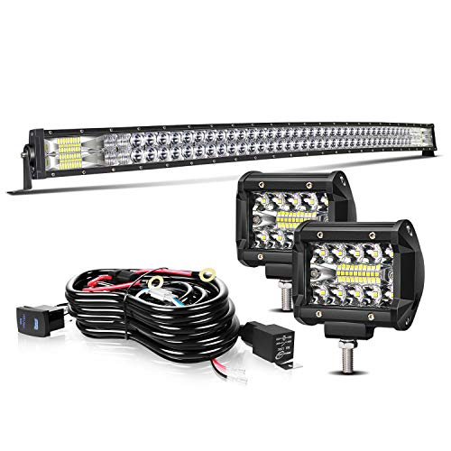 TURBOSII Led Light Bar 50Inch 288W Curved 5D Offroad Led Work Light Bar Spot Flood Combo + 2Pc 4Inch Led Pods Fog Lights + Wiring For Jeep Truck SUV Polaris Rzr Golf Cart Chevy Ford Dodge
