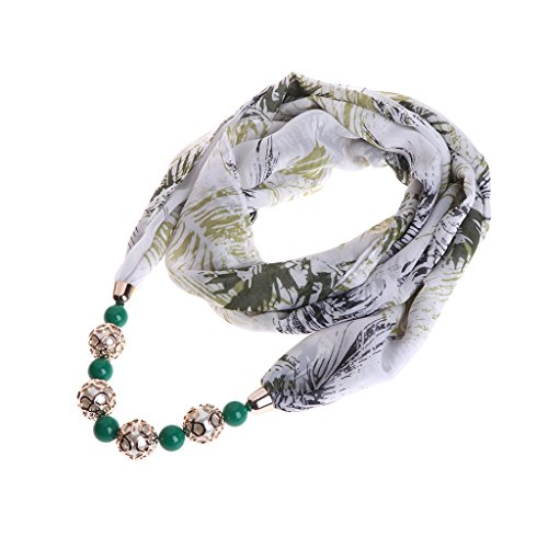 Colorido étnica Bufanda joyería declaración Chiffon Mujer Dabixx Wraps Beads Collar de de Colgante Verde q4n74Twpxt