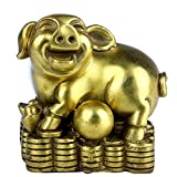 Brass Chinese Zodiac Ingots Pig Statue Home Decoration Collectibles