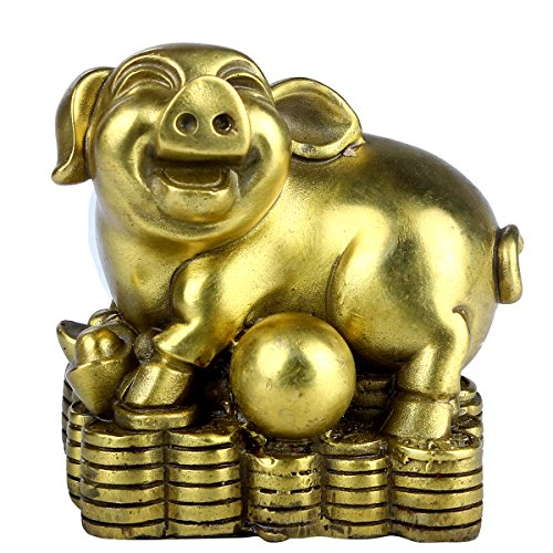 Brass Chinese Zodiac Ingots Pig Statue Home Decoration (Chinese Ingot)