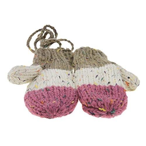 Gants Hiver mignon Gants Tricoté Épaissir Coloré Moufle Immpression Jacquard Gants chauds aimable avec la corde tour du cou tricoté pour Enfant à l'école et Maman
