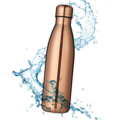 - MFEI Keep Hot and Cold Stainless Steel Water Bottle Vacuum Insulated Leak-proof Double Walled for Outdoor Sports Hiking Running (Rose gold)