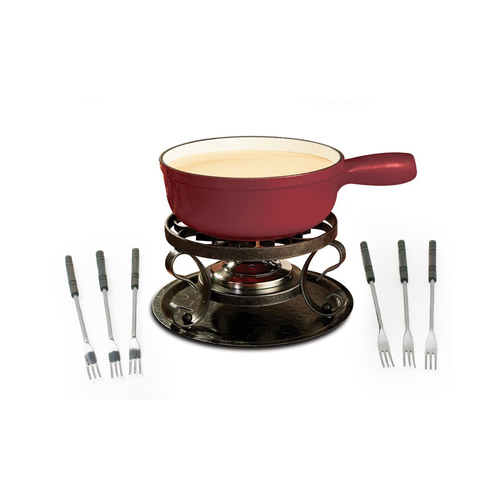 Swissmar KF-66517 Lugano 2-Quart Cast Iron Cheese Fondue Set, 9-Piece, Cherry Red