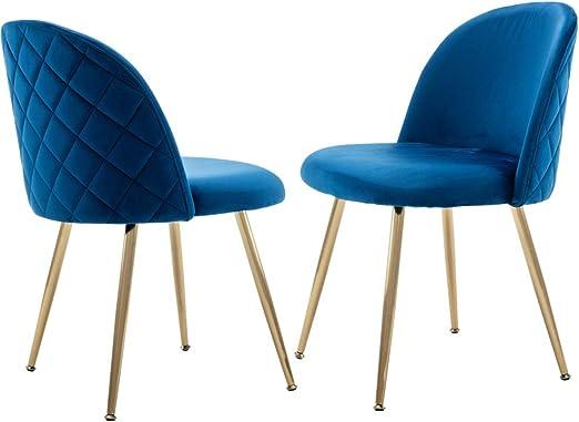 Amazon.com - DM Furniture Modern Side Chair Blue Living Room ...