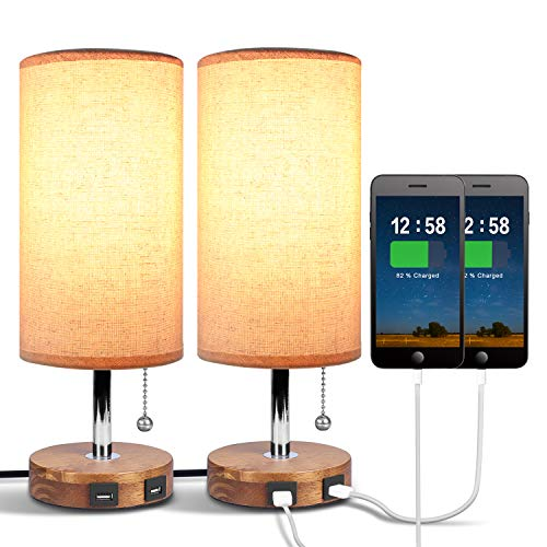 Dual USB Bedside Table Lamp, Aooshine Bedside Lamp with ...