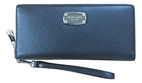 Michael Kors Jet Set Item Black Travel Continental Leather Wallet -