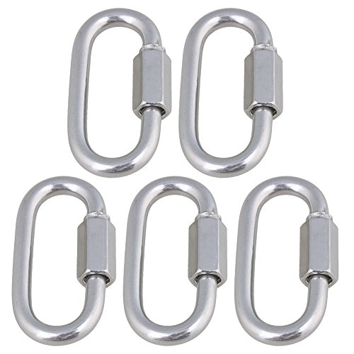 5pcs Silver 304 Stainless Steel Oval Quick Link Lock Hook Screwlock Screwgate Carabiner (M6) by ZIJIA (Image #1)