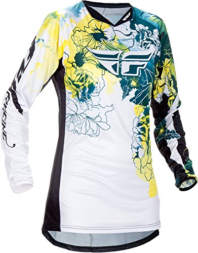 (Fly Racing Unisex-Adult Kinetic Women's Jersey Dark Teal/Yellow Youth Small)