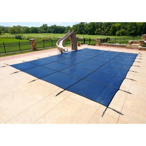 20'x40' Rectangle Mesh Safety Pool Cover W/ 4' X 8' Center End Step - Blue - 18yr Warranty