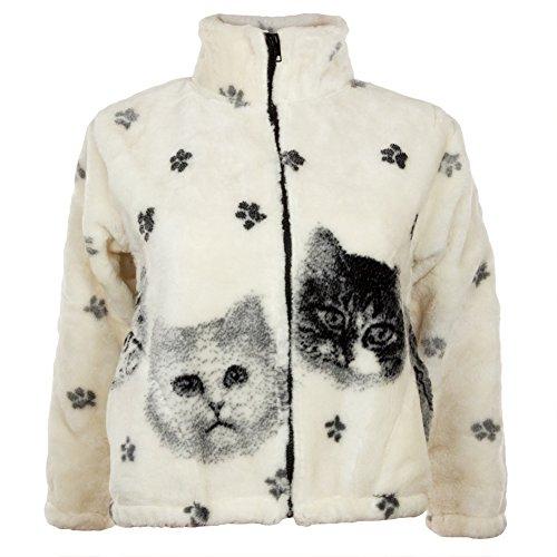 Kittens and Paw Prints Full Zip Sherpa Fleece Fitted Juniors Jacket - (Animal Print Zip Jacket)