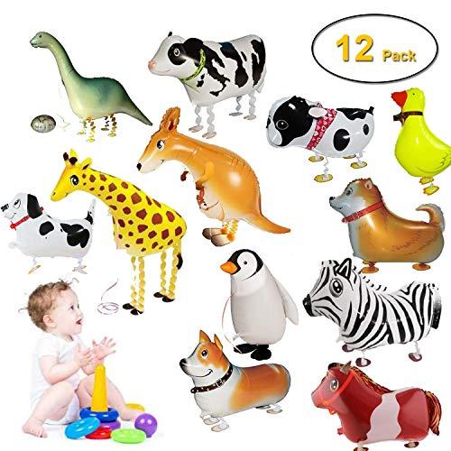 Walking Animal Balloons Farm Animals - 12 Pack Animal Balloons Air Walkers for Kids Gift Birthday Party Decor (Dinosaur Dog Giraffe Kangaroo Horse Zebra Cow duck)