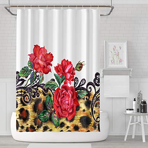 , Red Roses Lace Leopard Watercolor Pattern Bathroom Waterproof Fabric 72 Inches Long Home Bath Decorative Resistant Mildew Polyester ()