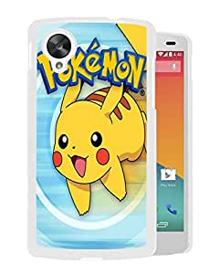 Pokemon Popular Cute and Funny Pikachu 01 White Google Nexus 5 Phone Case Fashion and Durable Custom Designed