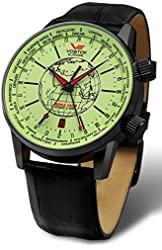 Vostok-Europe Gaz-Limo Automatic World Timer 32J Men's Watch Green Dial Black Strap 2426/5604240