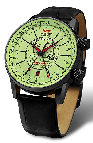 Vostok-Europe Gaz-Limo Automatic World Timer 32J Men's Watch Green Dial Black Strap 2426/5604240