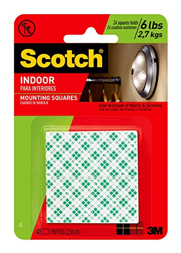 Scotch Indoor Mounting Tape, Holds up to 6 pounds, 1x1 inch, 48 squares