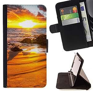 For Samsung Galaxy S4 Mini i9190 (NOT S4) Case , Sunset Beautiful Nature 31- la tarjeta de Crédito Slots PU Funda de cuero Monedero caso cubierta de piel
